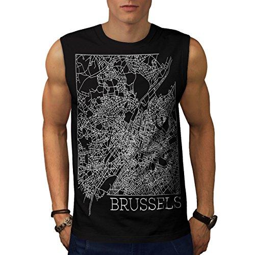 belgium-brussels-map-big-town-men-new-black-m-sleeveless-t-shirt-wellcoda