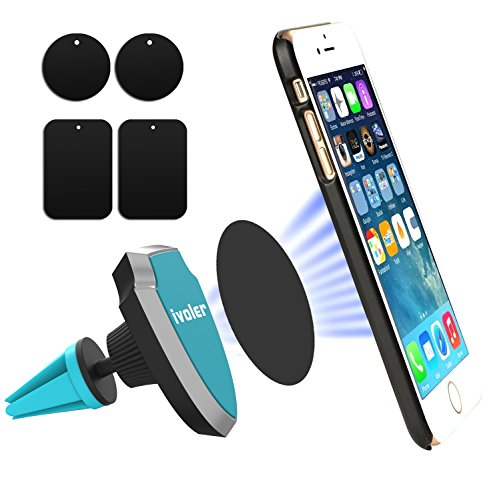 iVoler Soporte Movil Coche Air Magnético para Rejillas de Ventilación 360 grados Soporte Teléfono para Rejillas del Aire de Coche para iPhone X / 8 / 8 Plus / 7 / 7 Plus / 6(s) / 6(s) Plus / SE / 5s / 5, Samsung Galaxy S8 / S8+ / S7 / S7 Edge / S6 / S5, Huawei, LG, Motorola, Xiaomi, BQ Aquaris, Sony y Android Móviles Dispositivo GPS. (2 redondeado + 2 placas de metal rectangulares) - Azul