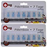 2 Pillendose Tablettendose 7 Tage Pillenbox Tablettenbox Spender Medikamenten-Box