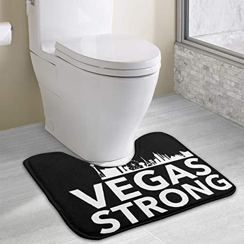 e Las Vegas We Are Strong We Are Battle Born Vector Toilet Carpet Anti-Slip Contour Bath Rug Carpet Mat for Toilet 19.2