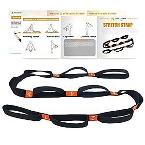 5BILLION Yogagurt – 4cm Breite – Stretchgurt mit Mehreren Grip Loops – Ideal für Heißes Yoga, Körperliche Therapie, Größere Flexibilität & Eignung-Training