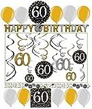60.Geburtstag Dekoration Deko-Set 'Sparkling' Gold Silber Happy Birthday Partykette Girlanden-Set Konfetti Sechzig Jahre