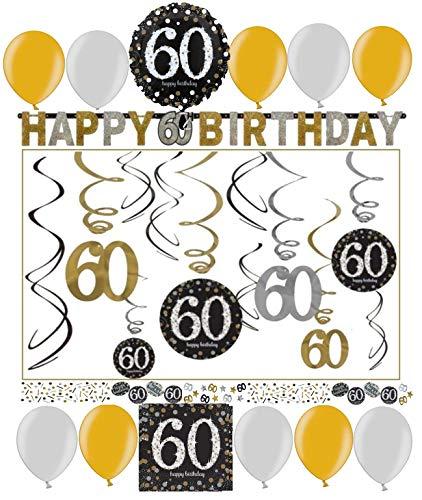 60.Geburtstag Dekoration Deko-Set 'Sparkling' Gold Silber Happy Birthday Partykette Girlanden-Set Konfetti Sechzig Jahre (60. Geburtstag Dekoration)
