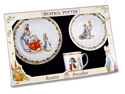 Beatrix Potter 3 pièces Ensemble de petit déjeuner pour enfant avec fleur Band Reutter Porcelaine