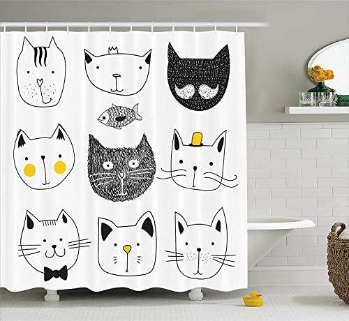 Cat Shower Curtain, Stylish Cats with Moustache Bow Tie Hat Crown Fluffy and Fish Humor Faces Graphic, Fabric Bathroom Decor Set with Hooks, 72x72 inches, Yellow Grey Bronze Mens Tie