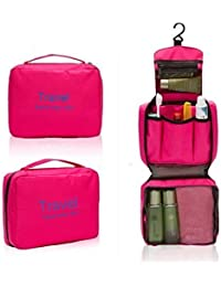 LAZYMARTS Portable Travel Toiletry Zipper Cosmetic Makeup Pouch Storage Hanging Bag - PINK