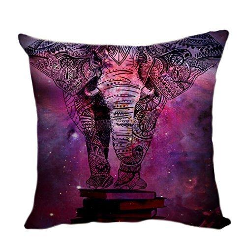 Pillow Cover Funda de cojín Deco para sofá, Funda de cojín, Fundas de Almohada, Almohada cojín Morado Bohemia India Elefante Galaxy Nebula Libro 55 x 55 cm