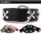 avadoo® Hundehalsband Leder Reflektierend mit Knochen aus beschichtetem Spaltleder Design CUCA Schwarz, Größe S 32-42cm