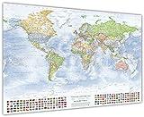 Mappa politica del mondo, 120x80 cm, con bandiere, in inglese, edizione 2016