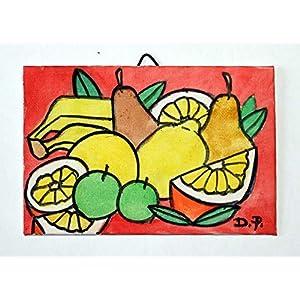 Die Frucht – Handbemalt auf Leinwand, Maße 15x10x0,3cm, fertig zum Aufhängen an der Wand Made in Italy, Toskana Lucca Erstellt von Davide Pacini.
