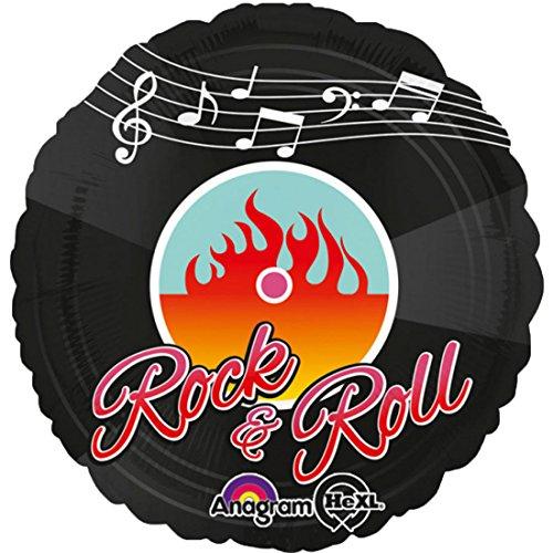 ekoration Folienballon - Rock 'n' Roll Schallplatte - 1 Stück, 45cm, Schwarz (Halloween-dekoration Für Dinner-party)