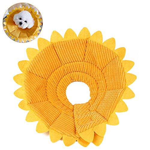 EisEyen Hund Halskrause Elisabethanischer Wunde Kragen Schutzkragen für Katzen Uns Hunde, 20-35cm, Gelb