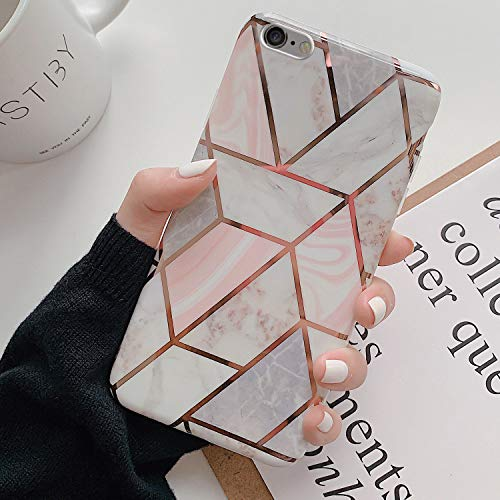 Kompatibel mit iPhone 6S Plus Hülle,Handyhülle iPhone 6 Plus Case Rosa Marmor Muster Ultradünn TPU Silikon Hülle Schutzhülle Weiche Crystal Clear Silikon Bumper Rückschale Case Cover,Design A
