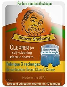 15 ricariche per cartucce Braun - Mint elettrico - 5 Shaver Shebang solución más limpia Shaver Shebang sostituzione di soluzioni per la pulizia Clean & Renew