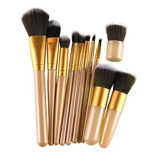 Kolylong Kit de Pinceau maquillage Professionnel 11 Pcs Brosse CosméTiques Pinceau De Maquillage Sets Kits Outils Brosse Visage Eyeshadow Brush dorado