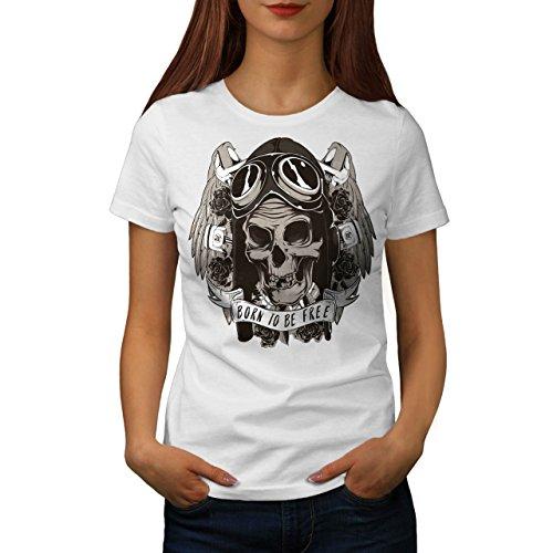 Geboren Nach Schädel Frei Motorradfahrer Damen S-2XL T-shirt | Wellcoda White