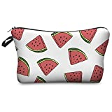 Women's Girls Make Up Bag Wash Bag Toiletry Cosmetics Wallet Pencil Pen Holder Organiser Pouch Case (L22 x H14 x W8 cm, Watermelon White)