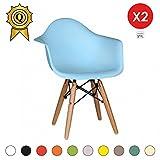MOBISTYL Promo 2 x Fauteuil Enfant Inspiration Eiffel Pieds Bois Assise Bleu Ciel Dawk-BL-2