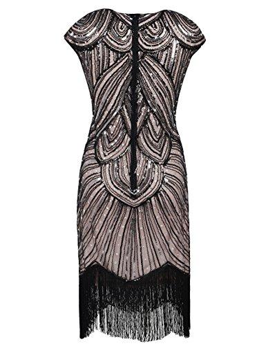 PrettyGuide Damen 1920er Gastby Diamant Pailletten verschönert mit Fransen Flapper Kleid Schwarz Beige