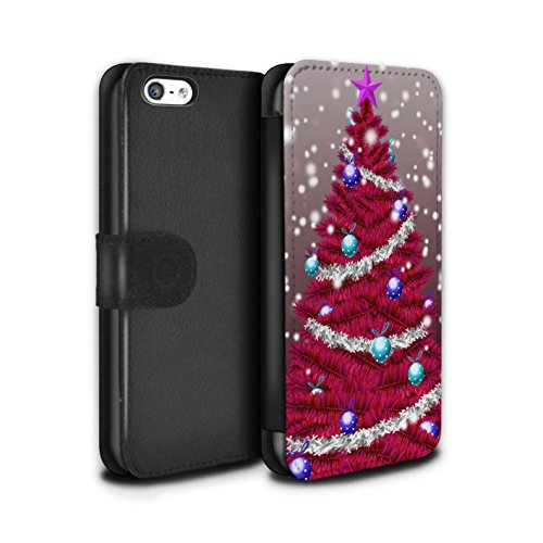 Stuff4 Coque/Etui/Housse Cuir PU Case/Cover pour Apple iPhone 5C / Pack 5pcs Design / Sapin/Arbre de Noël Collection Rouge