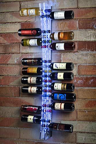 Expositor de botellas de vino para pared de 25 botellas   Este botellero de vino tiene múltiples aplicaciones: casa, tiendas especializadas y gourmet, bodegas, bares y restaurantes, ferias, lugares de ocio y entretenimiento, etc. Al ser totalmente t...