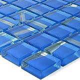 Glas Mosaik Ordabay Blau | Wandfliesen | Mosaik-Fliesen | Glasmosaik | Fliesen-Bordüre | Ideal für die Küche und Badezimmer (auch als Muster erhältlich) (Blau-Muster)