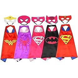 Rosfajiama Superhero Dress Up Disfraces para niños y niñas conjunto de 5 piezas Capas de satén con máscaras de fieltro Comics Cartoon Dress Up Juguetes para niños