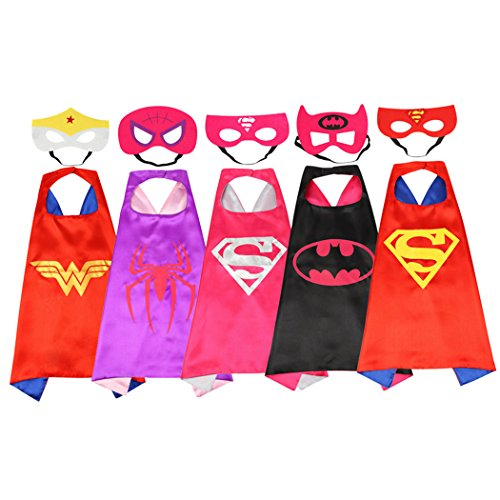 Rosfajiama Superhero Dress Up Costumes for Boys and girls set of 5 pieces Satin Capes with Felt Masks Comics Cartoon Dress Up Kids Toys