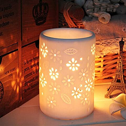 toim Milch weiß Keramik Hohl Floral Aroma Lampe Kerze Warmers Duft Wärmer Öl Diffusor ätherisches Öl Lampe Aromatherapie Ofen Keramik Räuchergefäß Wax Melt Wärmer Vase Shaped