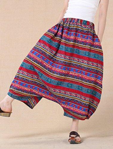 Voguees Damen Unisex Printing Elastic Waist Low Crotch Pants Rot - Rot