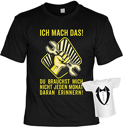 Spaß/Fun-Shirt-Set inkl. Mini-Shirt/Flaschendeko: Ich mach das! Du brauchst mich nicht jeden Monat daran erinnern! tolles Geschenk Schwarz