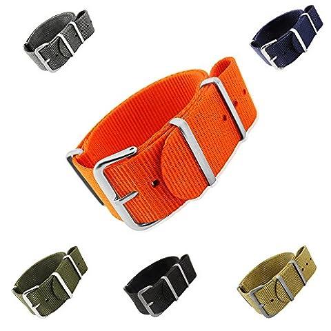 Mi-Watch OTAN G10 Bracelet de montre en nylon Style militaire 18mm 20mm 22mm et 24mm Noir bleu gris orange kaki et vert olive, Zulu Nato,