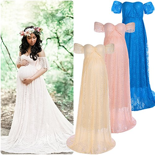 IWEMEK Elegant Photography Maternity Wrap Dress Women Pregnant Dress Floral Lace Off Shoulder Ruffle Sleeve Maxi Trailing Long Dress for Photo Shoot Wedding Evening Party Gown White Pink Beige Blue