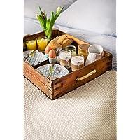 Tablett Altholz ca. 60x40 cm aus gewachstem und geöltem Holz von Blumenkiste/Marktkiste/Obstkiste Vintage, Shabby-Chic mit Tau
