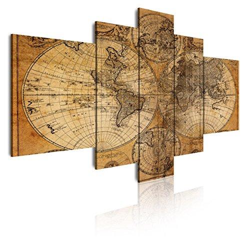 DEKOARTE 67-Cuadro Moderno en Lienzo 5 Piezas mapamundi Antiguo, 180x3x85cm, Multicolor, (180x850cm)