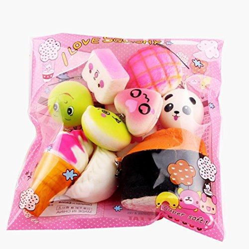 Covermason Squishy Toys Slow Rising Spielzeug Jumbo Cute Stress Kombination Toys 10 Stück Mittel Mini Weich Squishy Brot Spielzeuge Schlüssel (Mehrfarbig)
