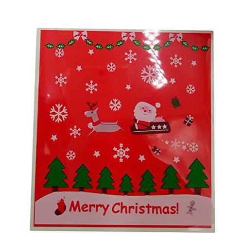 aikesi 100Stück Geschenktaschen Cute Schlitten Santa Claus Muster Frohe Weihnachten Cookie Candy Kunststoff Paket selbstklebend rot