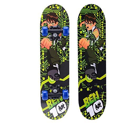 rd Komplett Longboard Double Kick Skateboard Cruiser 8 Lagen Ahorn Deck für Extremsport und Outdoor, 1,60cm ()
