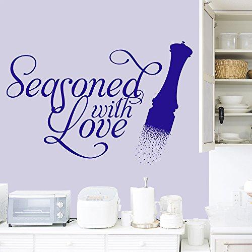 Condito con amore Pepper Mill parete della famiglia Citazione ??Wall Sticker Kitchen Art Stickers disponibile in 5 dimensioni e 25 colori Piccolo Fucsia