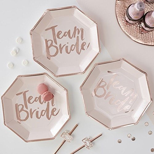 ROSE GOLD FOILED TEAM BRIDE PAPER PLATES - TEAM BRIDE -