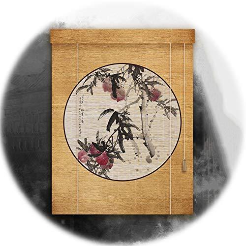 YANGJUN-Bambusrollo Rollo Bambus Raffrollo Sichtschutz Rollos Holzrollo Schattierung Abgeschnitten Tunnelzug Retro Traditionell Chinesisches Gemälde Anpassbare