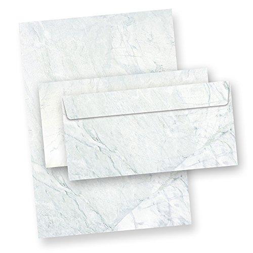 Briefpapier Set Marmor grau (25 Sets ohne Fenster) Strukturpapier Granit Marmor grau/blau mit passenden Briefumschlägen -
