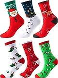Sumind 6 Pares de Calcetines de Navidad Calcetines Casuales de Fiesta Calcetines de Algodón Divertidos para Regalos Originales