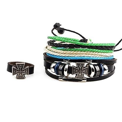 Winter Secret de trois pièce pour Multi brins Croix Alliage Perles Adjusatble Cuir Noir Bracelet Wrap