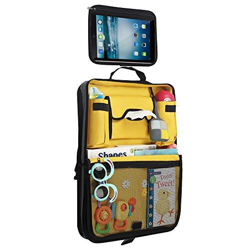 Parenthings Organizer per sedile posteriore auto - Design originale, tessuto di prima qualità, 2 tasche per tazze e bottiglie, tasca con fessura, ampio spazio di sistemazione, supporto per tablet