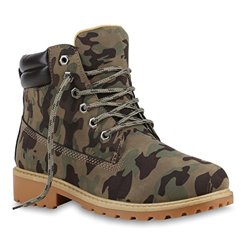 Damen Outdoor Worker Boots Camouflage Schuhe Camouflage