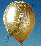 5 goldfarbende Luftballons mit Zahl 50. Hochzeitstag Ballons Partydeko Jubiläum goldene Hochzeit