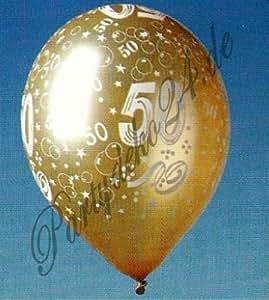 5 Ballons dorés avec le nombre 50. Anniversaire de mariage Ballon Déco de fête Jubilé Noces d'Or
