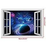 KINTRADE 3D Sternenhimmel gefälschte Fenster Wandaufkleber Universum Galaxie Fenster Ansicht Wandaufkleber Vinyl DIY Wandbild Aufkleber Dekoration