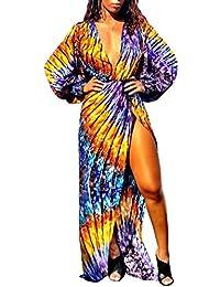 1b2ef919cac1 Damen Frühling Herbst Maxikleid mit Schlitz Afrikanisch Blumen Kleid  Strandkleider Urlaub Sexy Tief V Ausschnitt Laternenhülse